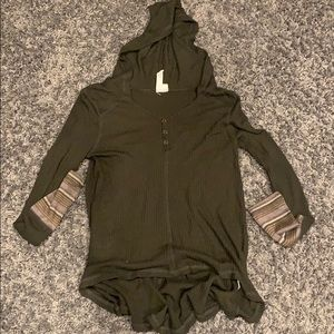 Others Follow hooded waffle knit thermal